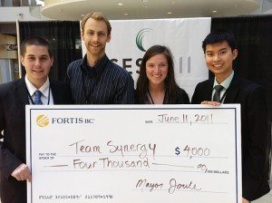 Team Synergy, consisting of Thomas Butler, Geoff de Ruiter, Bonnie, and Sunny Yang won $4000 for their energy saving proposal about district energy systems.